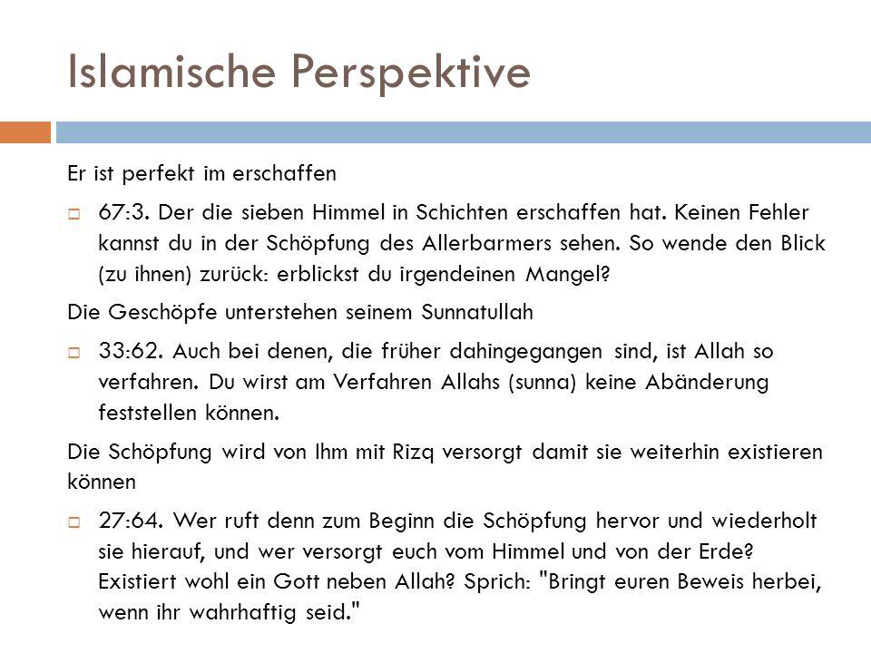 Islamische Perspektive Er ist perfekt im erschaffen  67:3. Der die sieben Himmel in Schichten erschaffen hat. Keinen Fehler kannst du in der Schöpfun