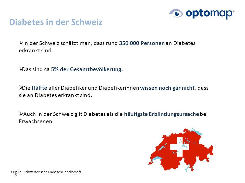 Diabetes in der Schweiz 5  In der Schweiz schätzt man, dass rund 350 000 Personen an Diabetes erkrankt sind.