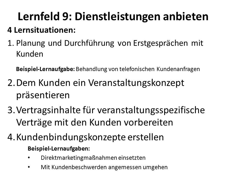 Lernfeld 9: Dienstleistungen anbieten 4 Lernsituationen: 1.Planung und Durchführung von Erstgesprächen mit Kunden Beispiel-Lernaufgabe: Behandlung von