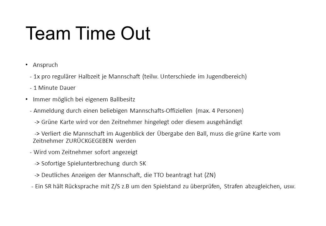 Team Time Out Anspruch - 1x pro regulärer Halbzeit je Mannschaft (teilw.