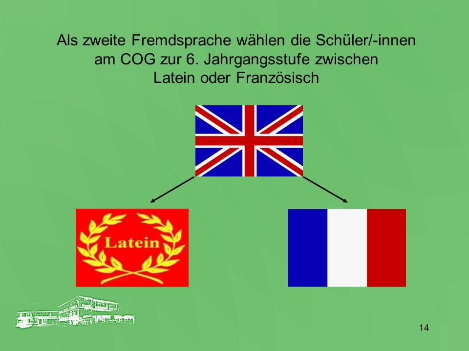 Als zweite Fremdsprache wählen die Schüler/-innen am COG zur 6. Jahrgangsstufe zwischen Latein oder Französisch 14