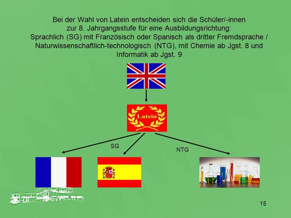 Bei der Wahl von Latein entscheiden sich die Schüler/-innen zur 8. Jahrgangsstufe für eine Ausbildungsrichtung: Sprachlich (SG) mit Französisch oder S