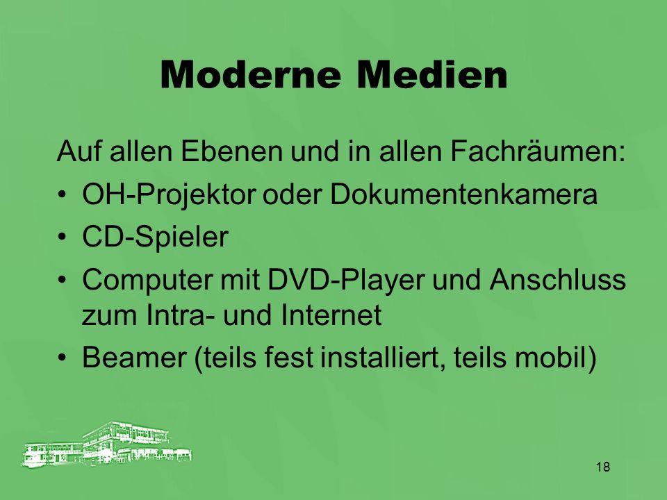 18 Moderne Medien Auf allen Ebenen und in allen Fachräumen: OH-Projektor oder Dokumentenkamera CD-Spieler Computer mit DVD-Player und Anschluss zum In
