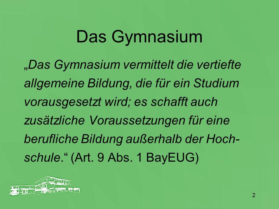 """2 Das Gymnasium """"Das Gymnasium vermittelt die vertiefte allgemeine Bildung, die für ein Studium vorausgesetzt wird; es schafft auch zusätzliche Voraus"""