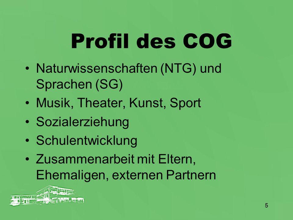 5 Profil des COG Naturwissenschaften (NTG) und Sprachen (SG) Musik, Theater, Kunst, Sport Sozialerziehung Schulentwicklung Zusammenarbeit mit Eltern,