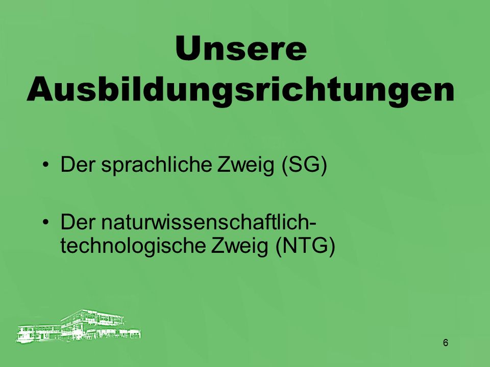 6 Unsere Ausbildungsrichtungen Der sprachliche Zweig (SG) Der naturwissenschaftlich- technologische Zweig (NTG)