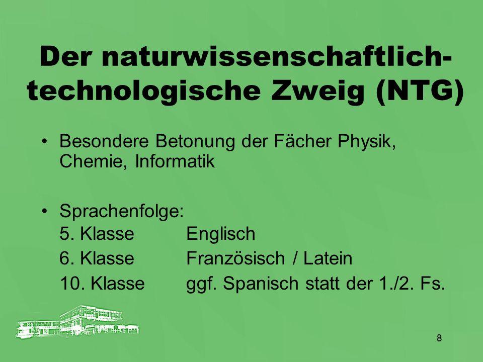 8 Der naturwissenschaftlich- technologische Zweig (NTG) Besondere Betonung der Fächer Physik, Chemie, Informatik Sprachenfolge: 5. KlasseEnglisch 6. K