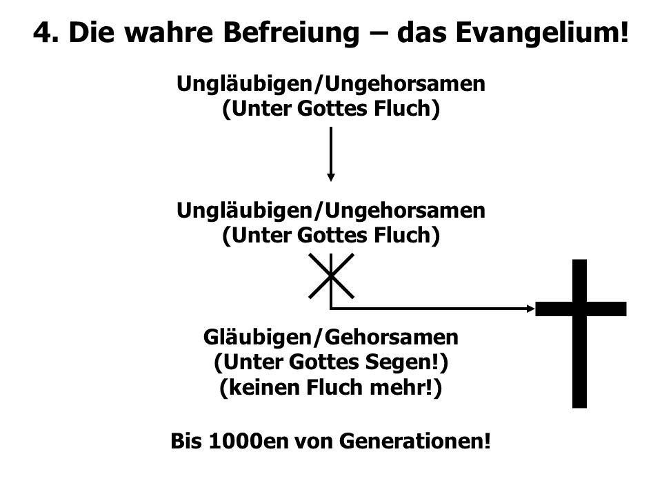 4. Die wahre Befreiung – das Evangelium! Ungläubigen/Ungehorsamen (Unter Gottes Fluch) Ungläubigen/Ungehorsamen (Unter Gottes Fluch) Gläubigen/Gehorsa