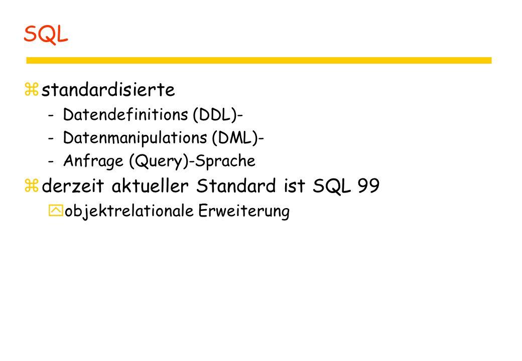 zstandardisierte -Datendefinitions (DDL)- -Datenmanipulations (DML)- -Anfrage (Query)-Sprache zderzeit aktueller Standard ist SQL 99 yobjektrelationale Erweiterung SQL