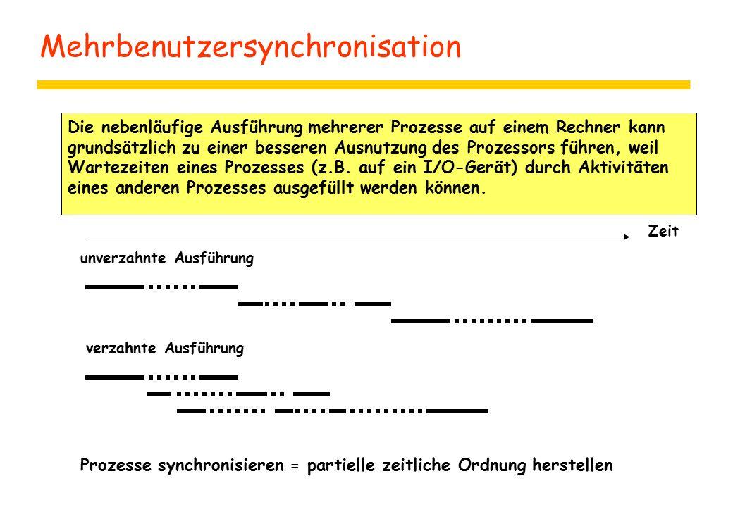 Mehrbenutzersynchronisation Die nebenläufige Ausführung mehrerer Prozesse auf einem Rechner kann grundsätzlich zu einer besseren Ausnutzung des Prozessors führen, weil Wartezeiten eines Prozesses (z.B.