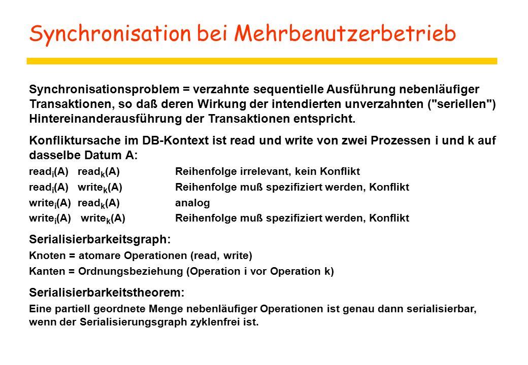 Synchronisation bei Mehrbenutzerbetrieb Synchronisationsproblem = verzahnte sequentielle Ausführung nebenläufiger Transaktionen, so daß deren Wirkung der intendierten unverzahnten ( seriellen ) Hintereinanderausführung der Transaktionen entspricht.