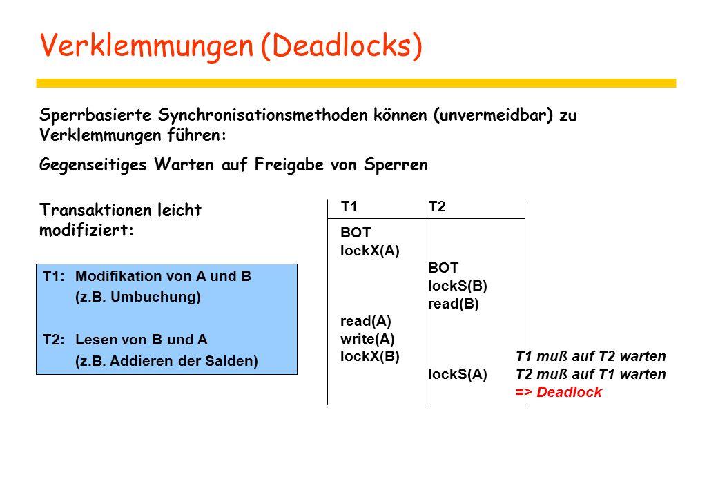 Verklemmungen (Deadlocks) Sperrbasierte Synchronisationsmethoden können (unvermeidbar) zu Verklemmungen führen: Gegenseitiges Warten auf Freigabe von Sperren T1T2 BOT lockX(A) BOT lockS(B) read(B) read(A) write(A) lockX(B)T1 muß auf T2 warten lockS(A)T2 muß auf T1 warten => Deadlock T1: Modifikation von A und B (z.B.