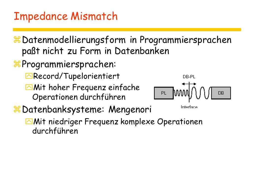 Impedance Mismatch zDatenmodellierungsform in Programmiersprachen paßt nicht zu Form in Datenbanken zProgrammiersprachen: yRecord/Tupelorientiert yMit hoher Frequenz einfache Operationen durchführen zDatenbanksysteme: Mengenorientiert yMit niedriger Frequenz komplexe Operationen durchführen