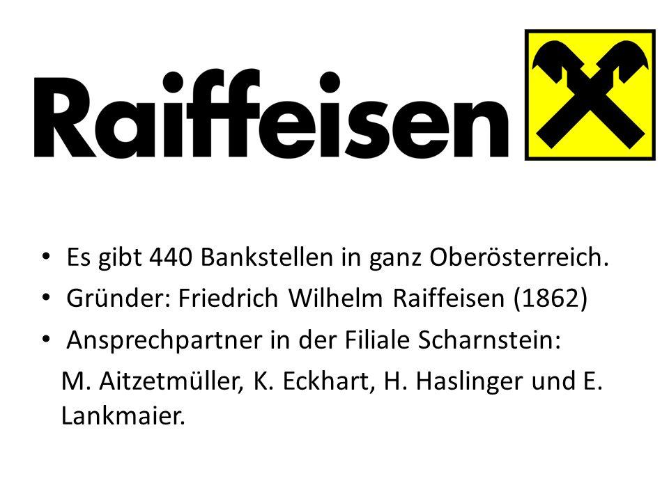 in Es gibt 440 Bankstellen in ganz Oberösterreich. Gründer: Friedrich Wilhelm Raiffeisen (1862) Ansprechpartner in der Filiale Scharnstein: M. Aitzetm