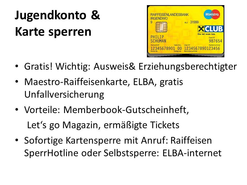 Jugendkonto & Karte sperren Gratis.