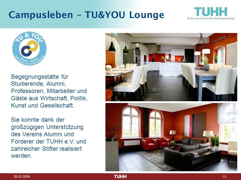 13 20.01.2016 Campusleben – TU&YOU Lounge Begegnungsstätte für Studierende, Alumni, Professoren, Mitarbeiter und Gäste aus Wirtschaft, Politik, Kunst und Gesellschaft.