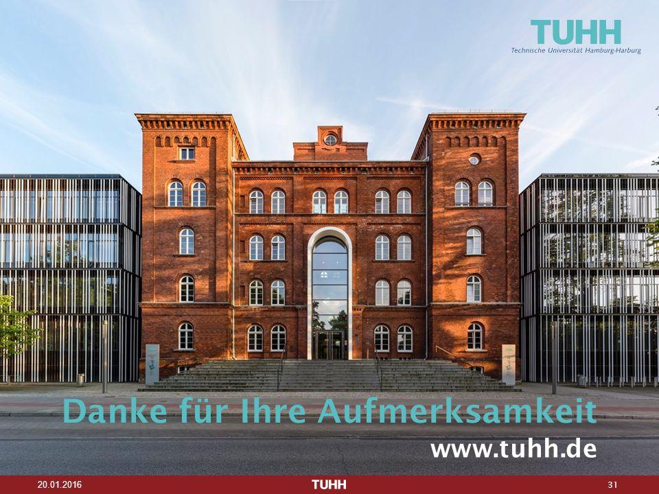 31 20.01.2016 Danke für Ihre Aufmerksamkeit www.tuhh.de