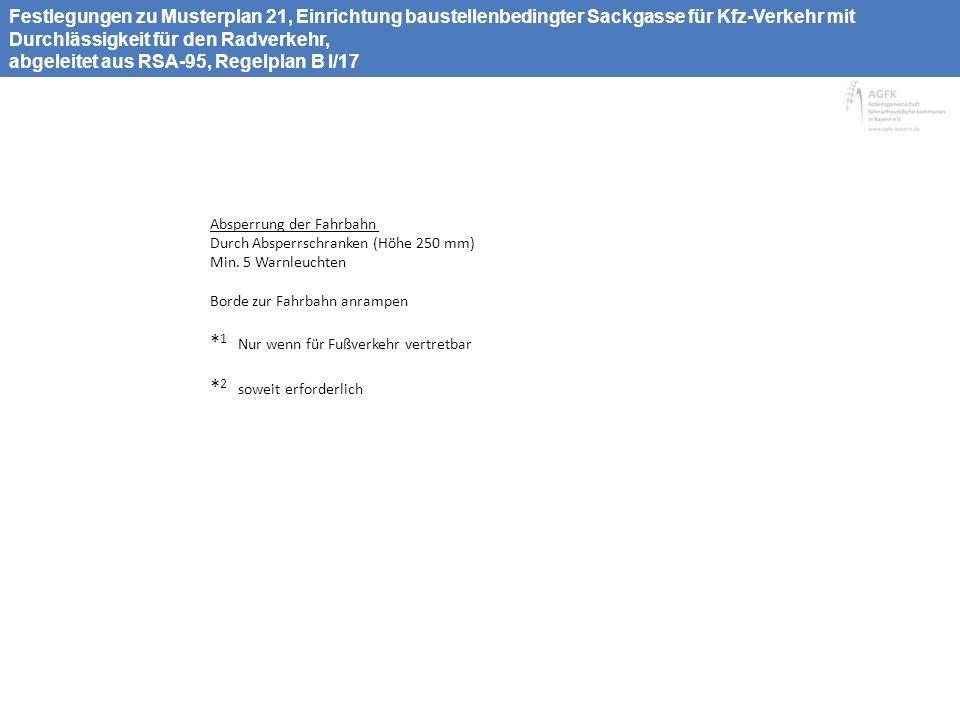 Musterplan 22, Fahrradstraße, Arbeitsstelle mit Durchlässigkeit nur für den Radverkehr, abgeleitet aus RSA-95, Regelplan B I/17 > 1,6 – 2,2* 1