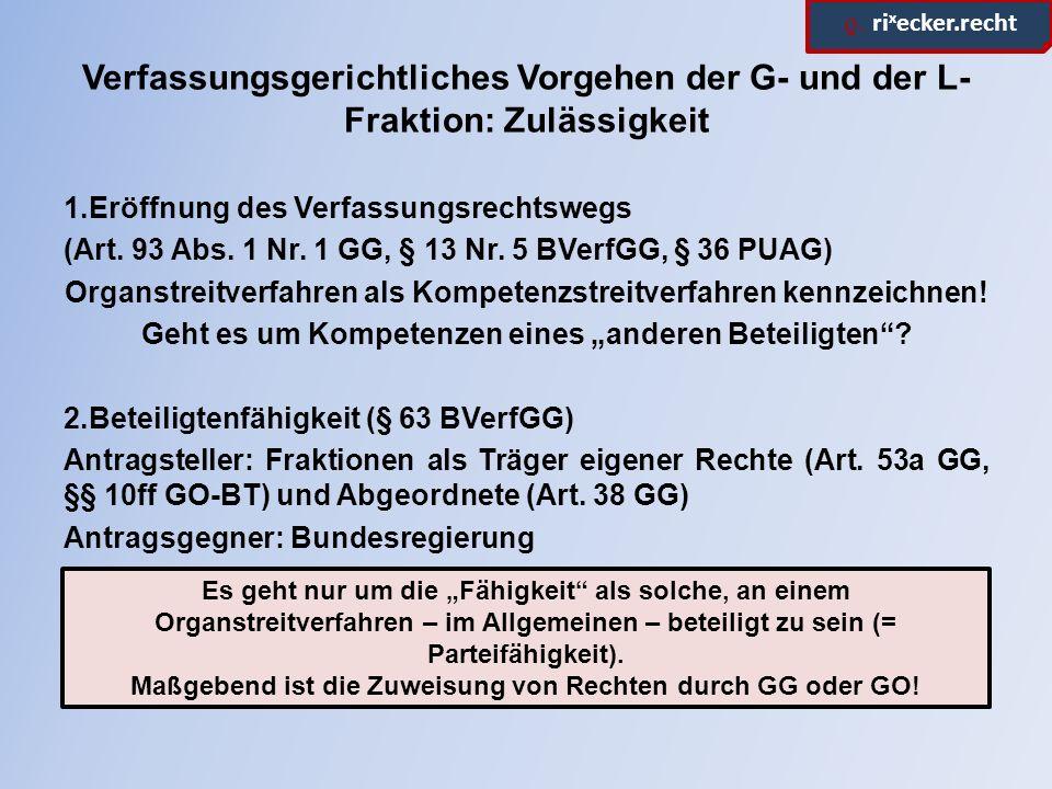 ϱ. ri x ecker.recht Verfassungsgerichtliches Vorgehen der G- und der L- Fraktion: Zulässigkeit 1.Eröffnung des Verfassungsrechtswegs (Art. 93 Abs. 1 N