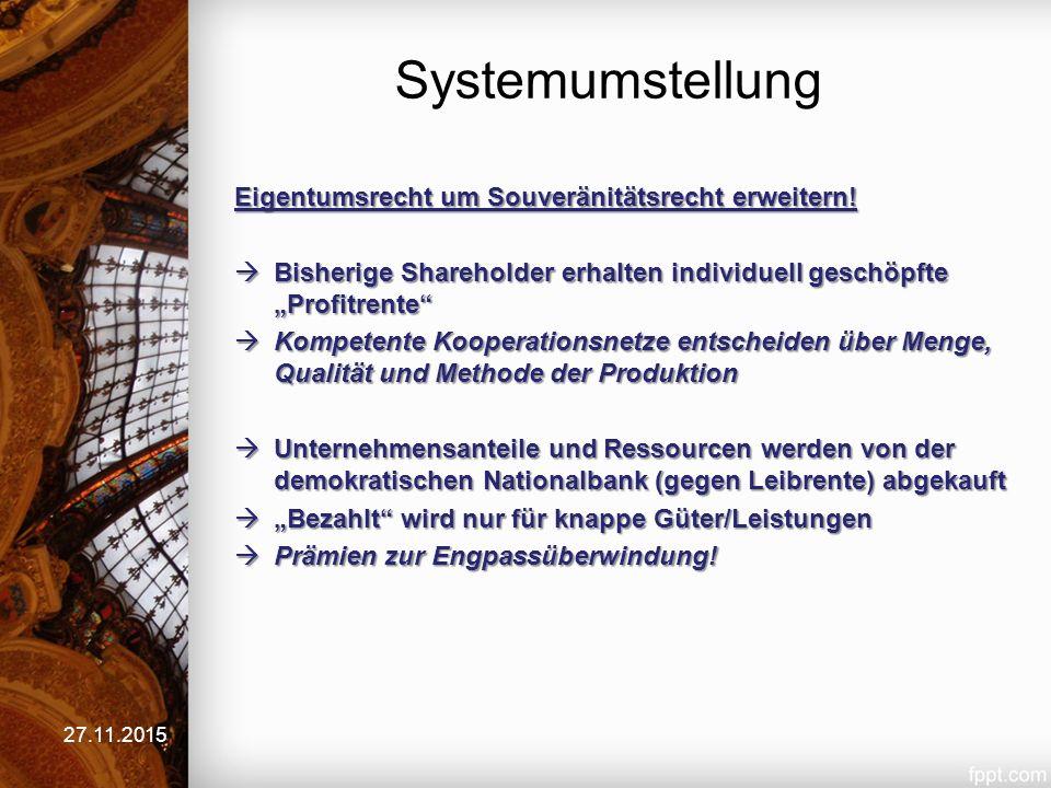 Systemumstellung 27.11.2015 Eigentumsrecht um Souveränitätsrecht erweitern.
