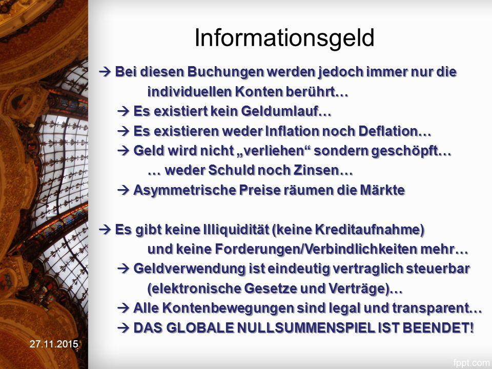 Tauschgeld (Nullsummenspiel) 27.11.2015 Bisher: Individualtausch mit Forderungen und Schulden