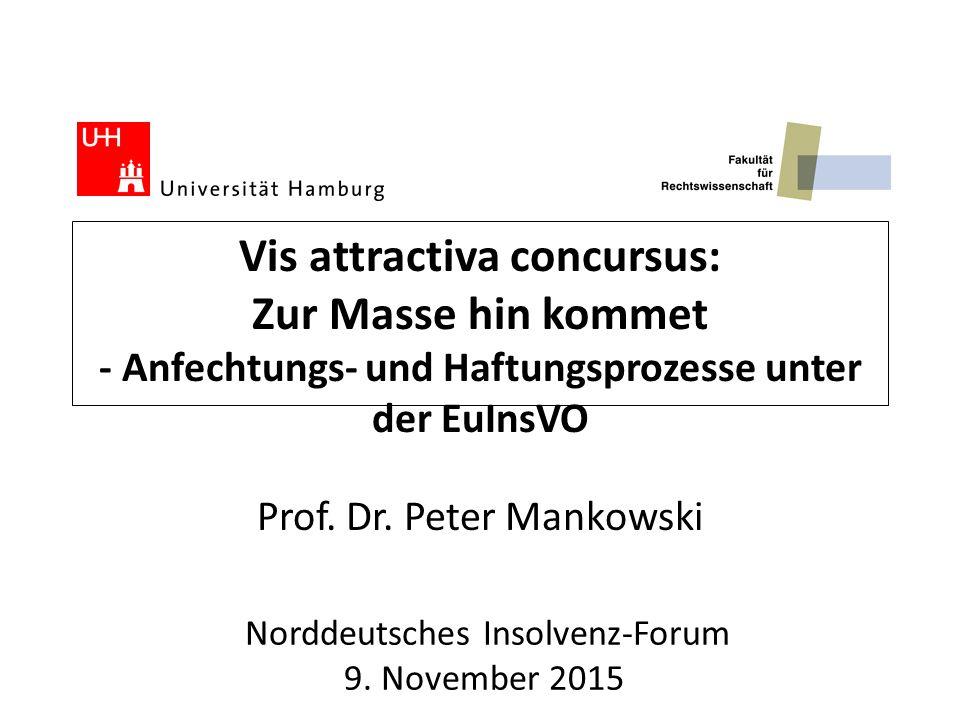 Vis attractiva concursus: Zur Masse hin kommet - Anfechtungs- und Haftungsprozesse unter der EuInsVO Prof. Dr. Peter Mankowski Norddeutsches Insolvenz