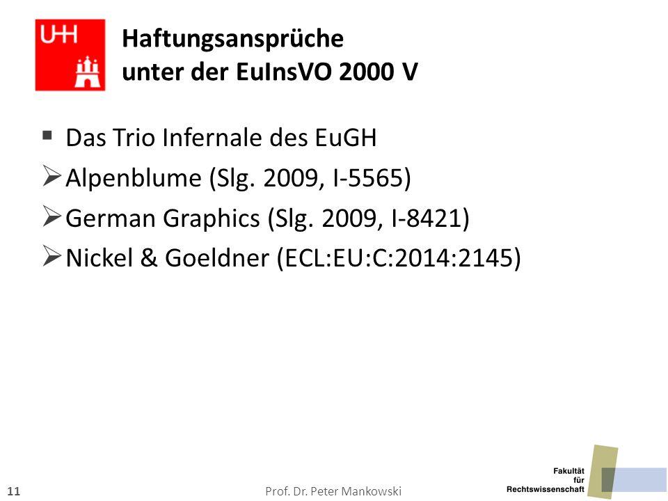 Prof. Dr. Peter Mankowski11  Das Trio Infernale des EuGH  Alpenblume (Slg. 2009, I-5565)  German Graphics (Slg. 2009, I-8421)  Nickel & Goeldner (