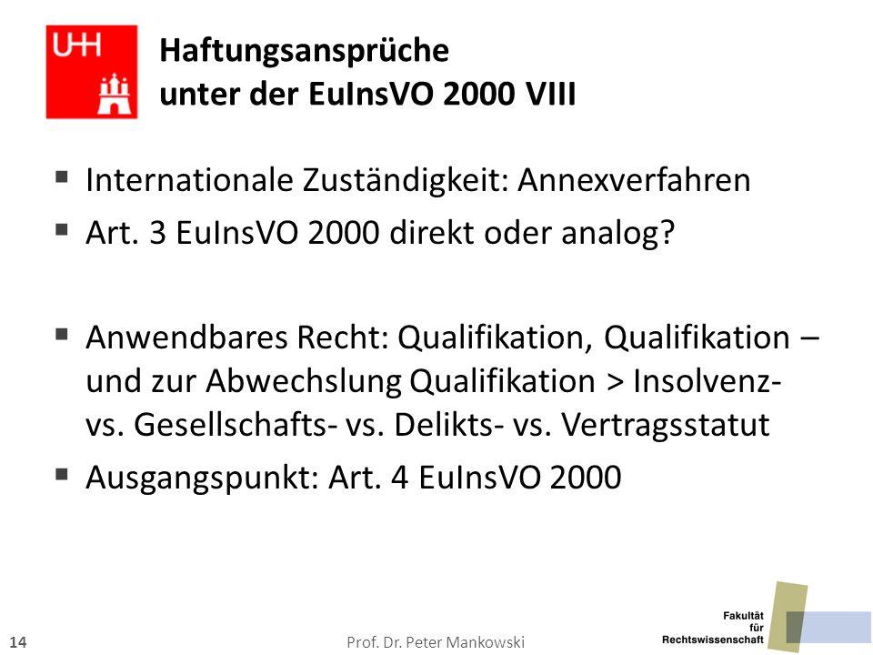 Prof. Dr. Peter Mankowski14 Haftungsansprüche unter der EuInsVO 2000 VIII  Internationale Zuständigkeit: Annexverfahren  Art. 3 EuInsVO 2000 direkt