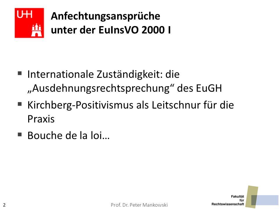 """Prof. Dr. Peter Mankowski2 Anfechtungsansprüche unter der EuInsVO 2000 I  Internationale Zuständigkeit: die """"Ausdehnungsrechtsprechung"""" des EuGH  Ki"""