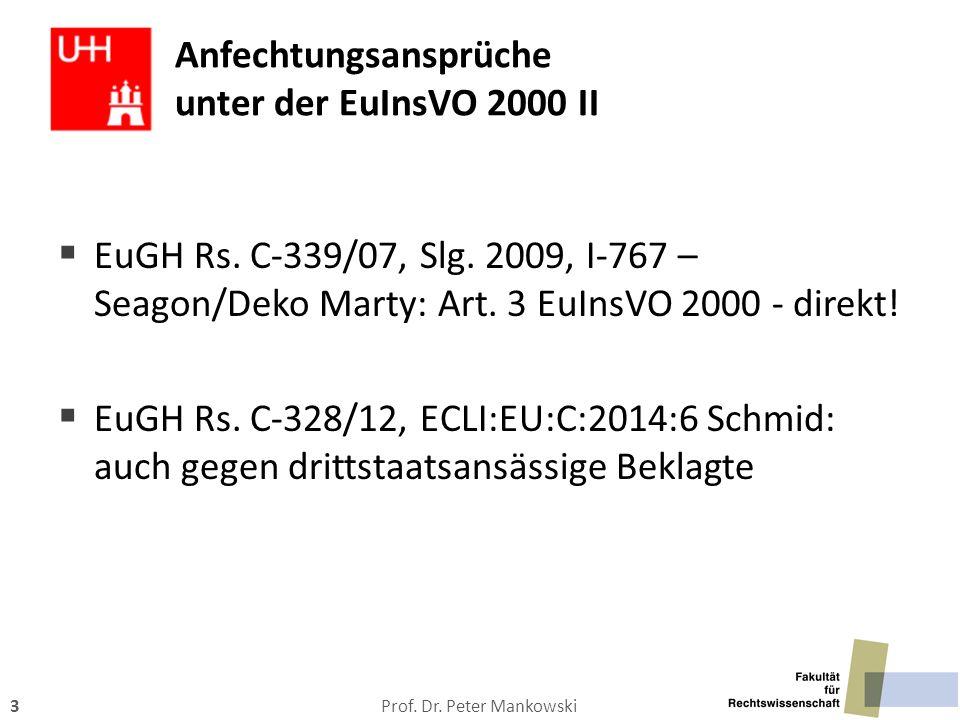Prof. Dr. Peter Mankowski3 Anfechtungsansprüche unter der EuInsVO 2000 II  EuGH Rs. C-339/07, Slg. 2009, I-767 – Seagon/Deko Marty: Art. 3 EuInsVO 20