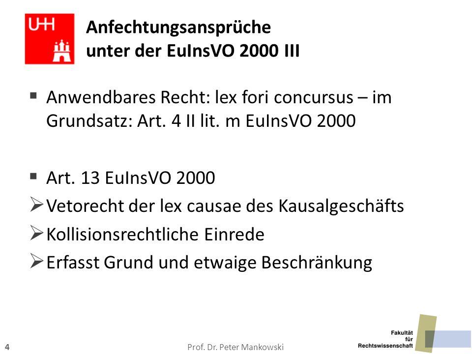 Prof. Dr. Peter Mankowski4 Anfechtungsansprüche unter der EuInsVO 2000 III  Anwendbares Recht: lex fori concursus – im Grundsatz: Art. 4 II lit. m Eu
