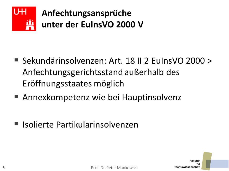 Prof. Dr. Peter Mankowski6 Anfechtungsansprüche unter der EuInsVO 2000 V  Sekundärinsolvenzen: Art. 18 II 2 EuInsVO 2000 > Anfechtungsgerichtsstand a