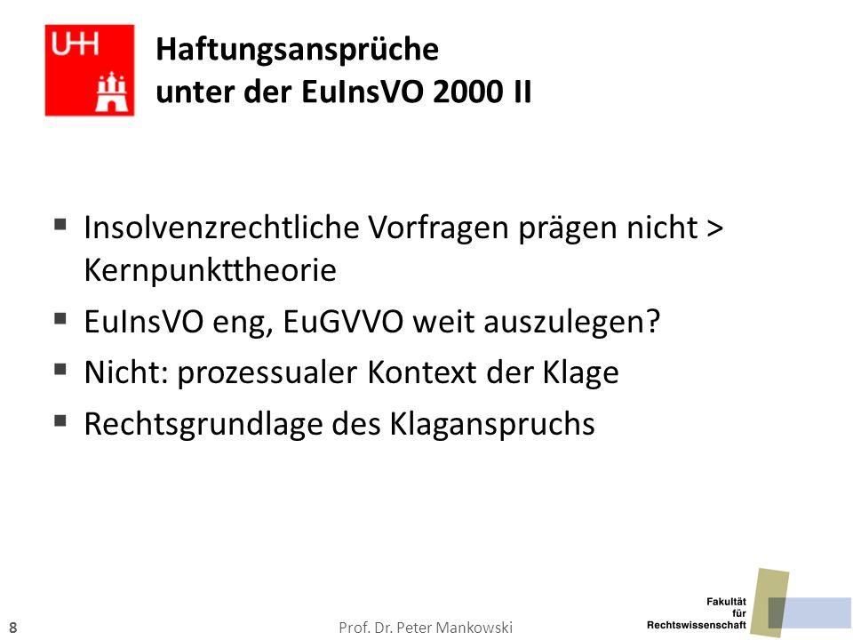 Prof. Dr. Peter Mankowski8 Haftungsansprüche unter der EuInsVO 2000 II  Insolvenzrechtliche Vorfragen prägen nicht > Kernpunkttheorie  EuInsVO eng,