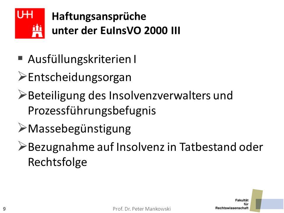 Prof. Dr. Peter Mankowski9 Haftungsansprüche unter der EuInsVO 2000 III  Ausfüllungskriterien I  Entscheidungsorgan  Beteiligung des Insolvenzverwa