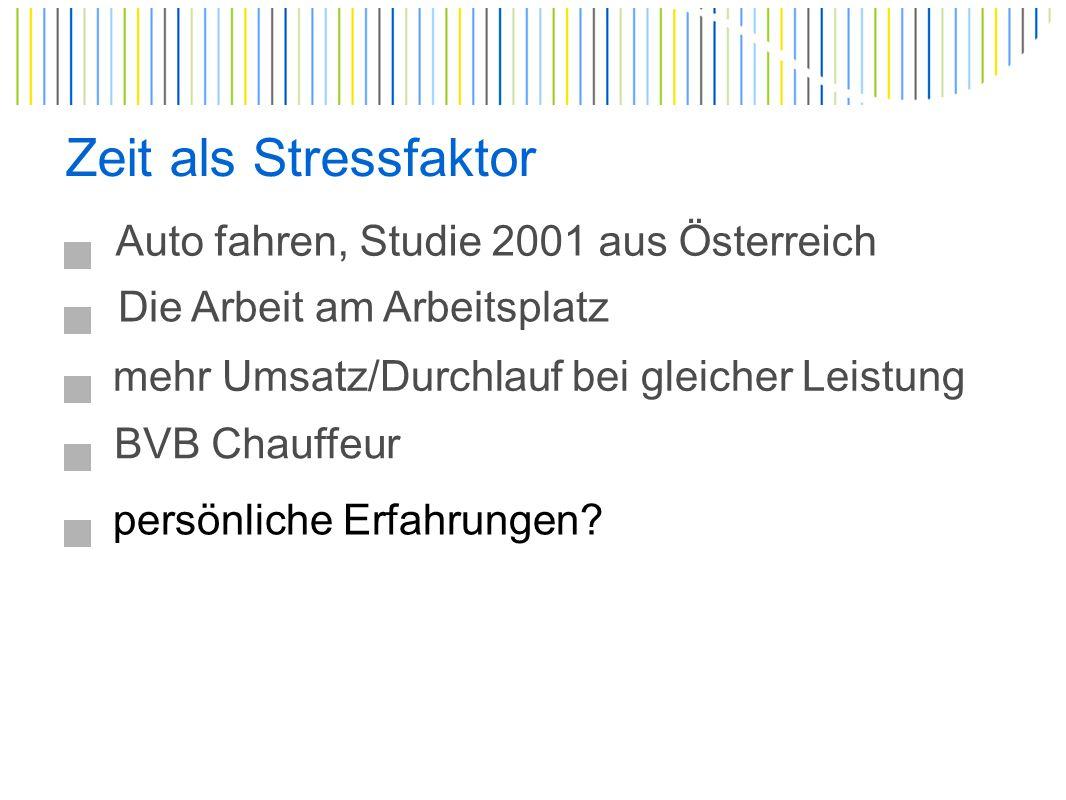 Zeit als Stressfaktor Auto fahren, Studie 2001 aus Österreich Die Arbeit am Arbeitsplatz mehr Umsatz/Durchlauf bei gleicher Leistung BVB Chauffeur persönliche Erfahrungen