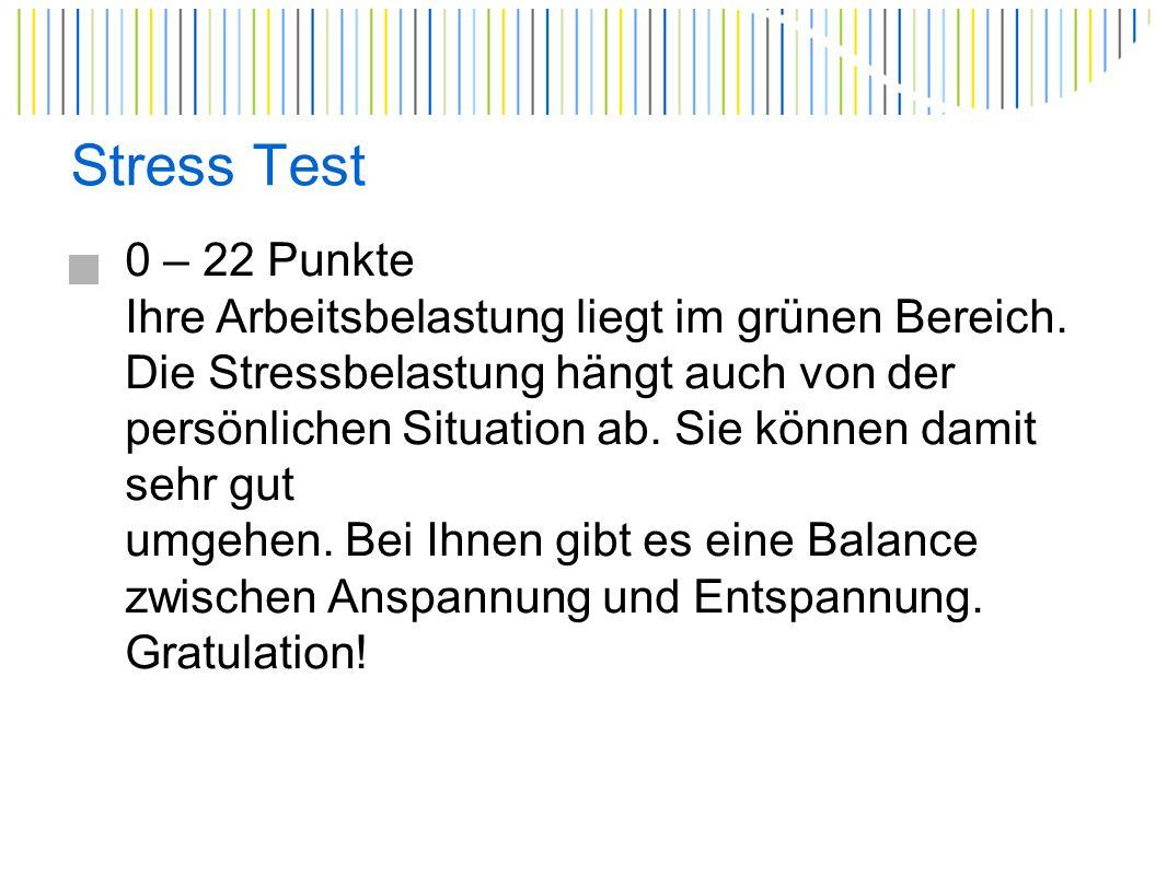 Stress Test 22 – 43 Punkte Ihre Arbeitsbelastung und daraus resultierend der Stress sind schon in einem höheren Masse gegeben.