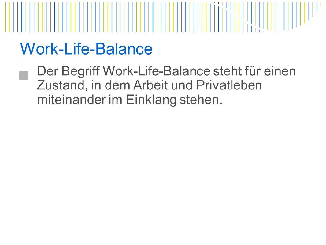 Work-Life-Balance Der Begriff Work-Life-Balance steht für einen Zustand, in dem Arbeit und Privatleben miteinander im Einklang stehen.