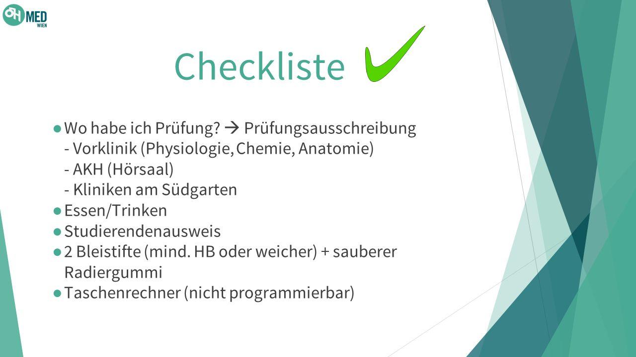 Checkliste ● Wo habe ich Prüfung.