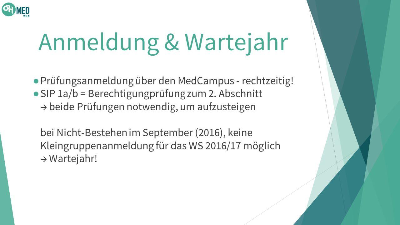 Anmeldung & Wartejahr ● Prüfungsanmeldung über den MedCampus - rechtzeitig.