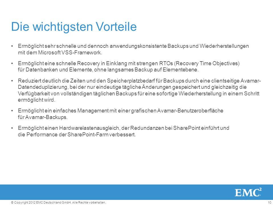 10© Copyright 2012 EMC Deutschland GmbH. Alle Rechte vorbehalten.