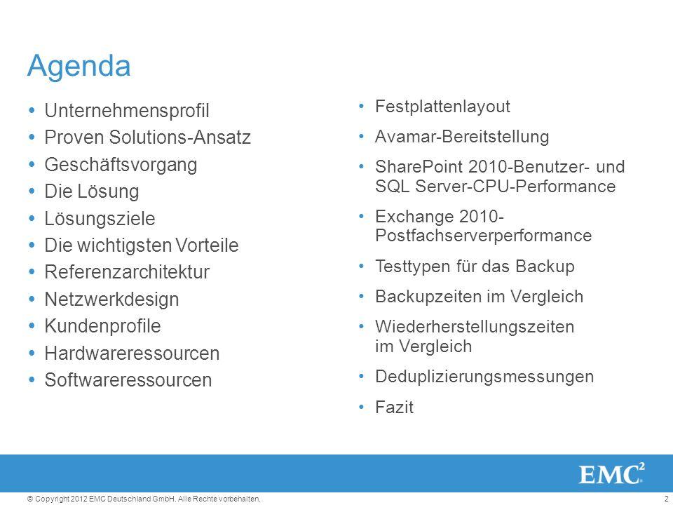 2© Copyright 2012 EMC Deutschland GmbH. Alle Rechte vorbehalten.