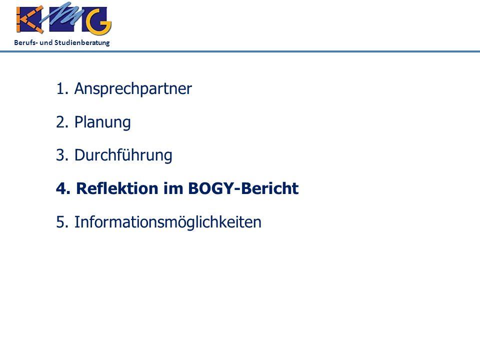 Berufs- und Studienberatung 1. Ansprechpartner 2.