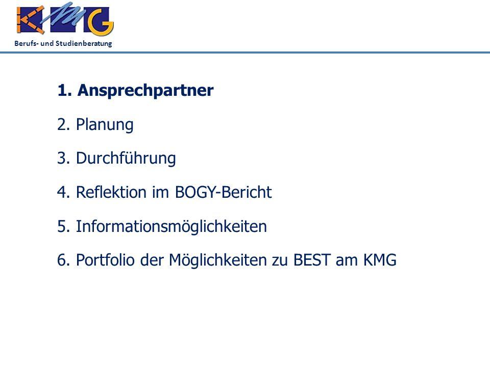 Berufs- und Studienberatung 1. Ansprechpartner 2. Planung 3. Durchführung 4. Reflektion im BOGY-Bericht 5. Informationsmöglichkeiten 6. Portfolio der