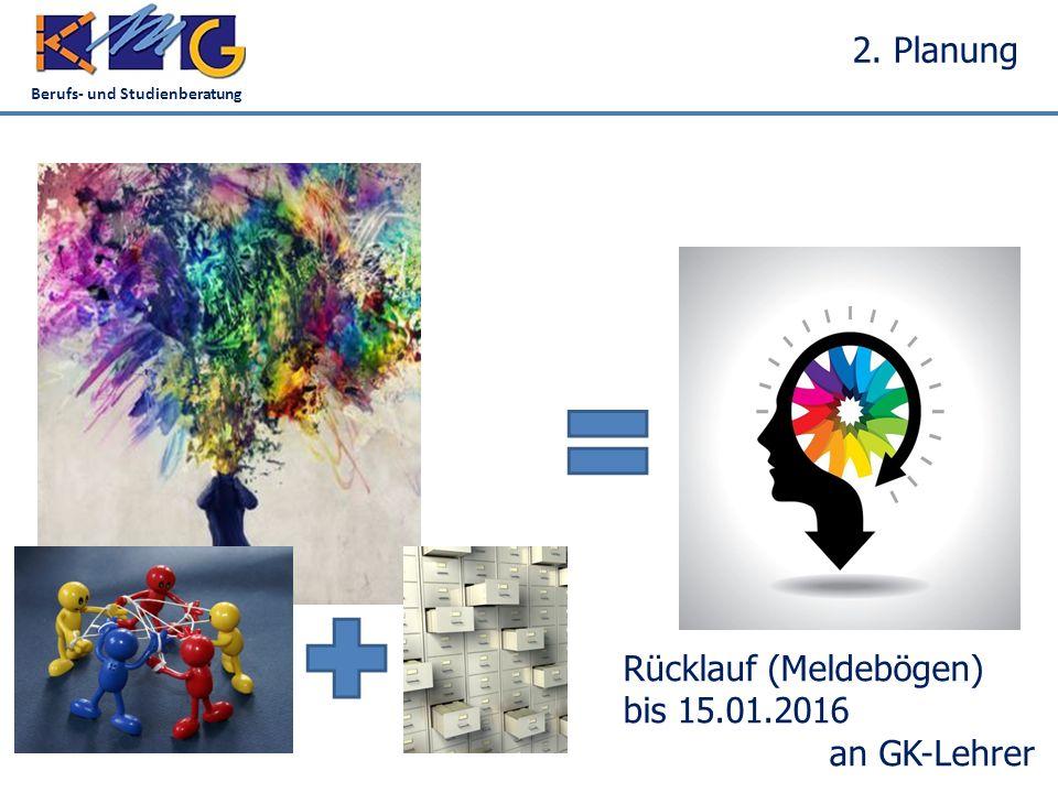 Berufs- und Studienberatung 2. Planung Rücklauf (Meldebögen) bis 15.01.2016 an GK-Lehrer