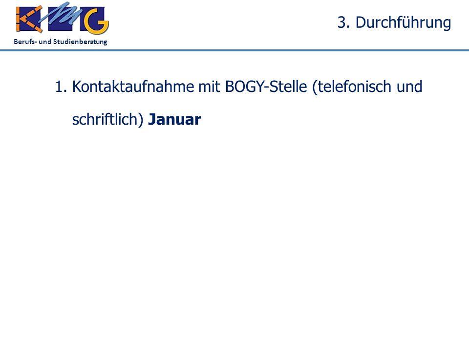 Berufs- und Studienberatung 3. Durchführung 1.Kontaktaufnahme mit BOGY-Stelle (telefonisch und schriftlich)Januar