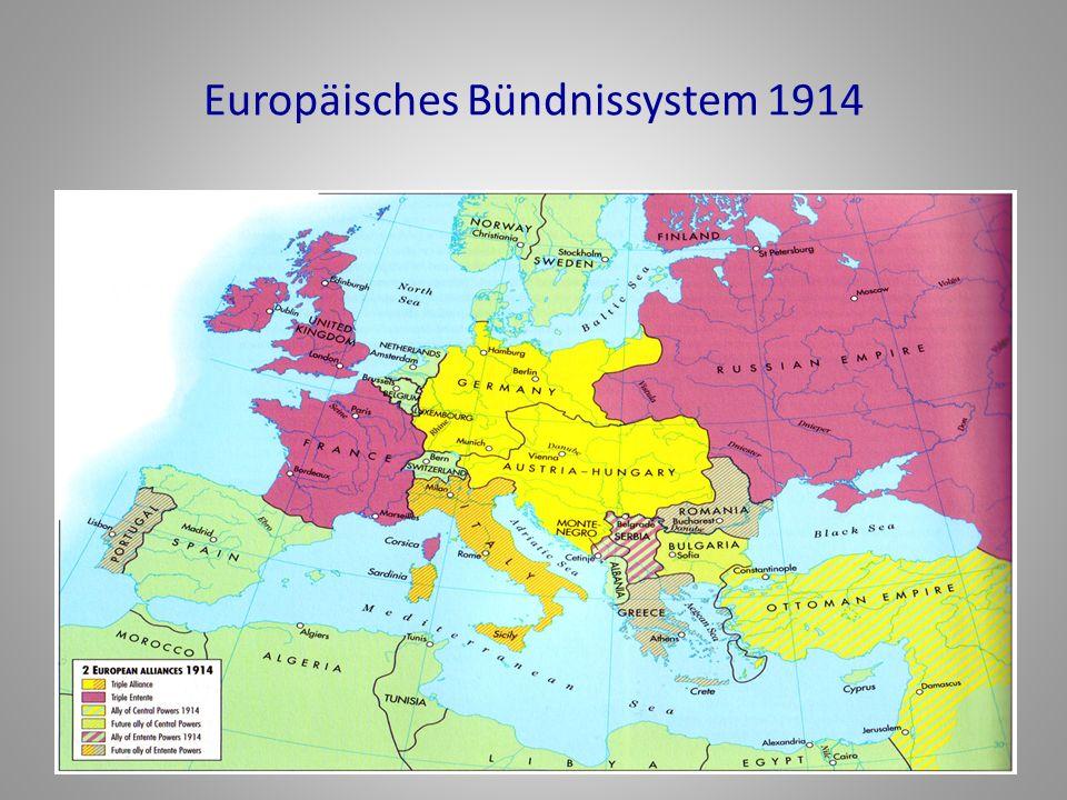 Position von Österreich-Ungarn und Deutschland Ö-U: abhängig von Deutschland, selbst in Fragen von Krieg und Frieden Starke Koalition Vorteil der 'inneren' Linie und Kommunikation