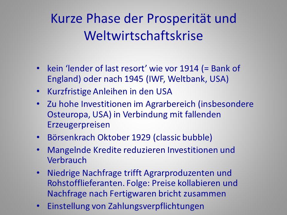 Kurze Phase der Prosperität und Weltwirtschaftskrise kein 'lender of last resort' wie vor 1914 (= Bank of England) oder nach 1945 (IWF, Weltbank, USA)