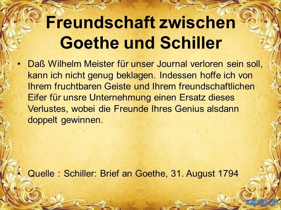 Daß Wilhelm Meister für unser Journal verloren sein soll, kann ich nicht genug beklagen. Indessen hoffe ich von Ihrem fruchtbaren Geiste und Ihrem fre