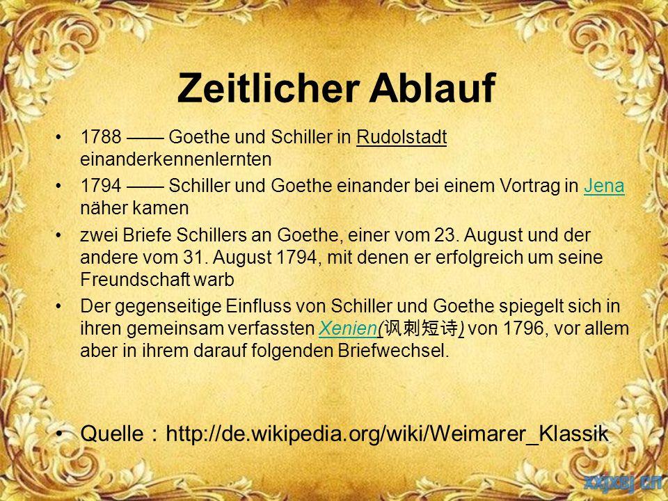 Zeitlicher Ablauf 1788 —— Goethe und Schiller in Rudolstadt einanderkennenlernten 1794 —— Schiller und Goethe einander bei einem Vortrag in Jena näher