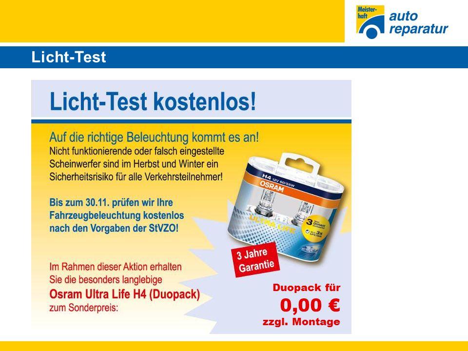 Licht-Test Duopack für 0,00 € zzgl. Montage